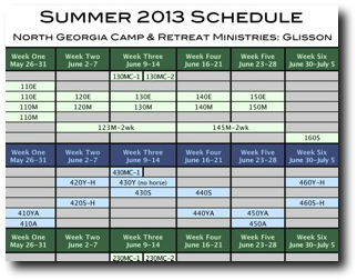 Glisson Summer Camp Schedule 2011