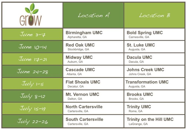 Grow Day Camps Schedule